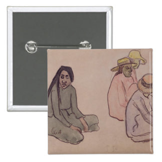 Study of Tahitians (w/c, ink & pencil on paper) 15 Cm Square Badge