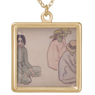 Study of Tahitians (w/c, ink & pencil on paper) Square Pendant Necklace