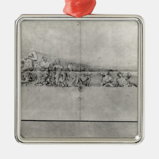 Study of the frieze from a pediment Silver-Colored square decoration