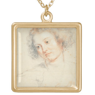 Study of the Head of St. Apollonia (drawing) Square Pendant Necklace