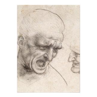 Study of Two Warriors Heads by Leonardo da Vinci Personalized Announcements