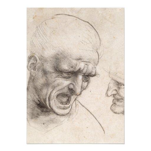 Study of Two Warriors Heads by Leonardo da Vinci Card