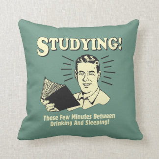 Studying: Drinking and Sleeping Throw Pillow
