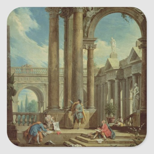 Studying Perspective among Roman Ruins Square Stickers