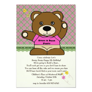 Stuff A Bear Party Pink 5x7 Paper Invitation Card