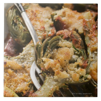 Stuffed artichokes with gratin topping large square tile