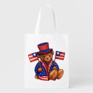 Stuffed Bear With A top Hat And 2 Flags Red White