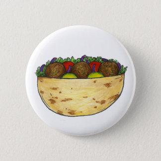 Stuffed Falafel Pita Sandwich Mediterranean Food 6 Cm Round Badge