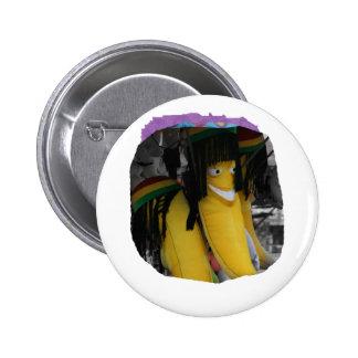 Stuffed rasta banana at fairgrounds 6 cm round badge