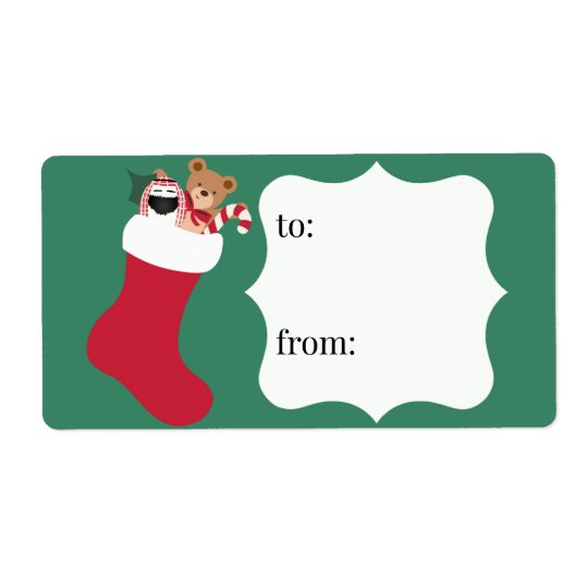 Stuffed Stocking Recipients Christmas Gift Label