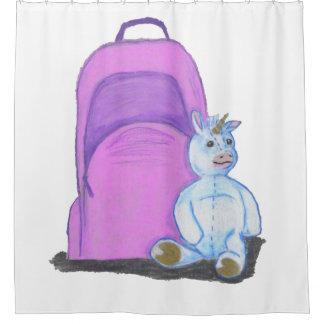 Stuffed Unicorn sits by a purple school Backpack Shower Curtain