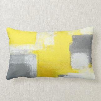 'Stumbled' Grey and Yellow Abstract Art Lumbar Cushion
