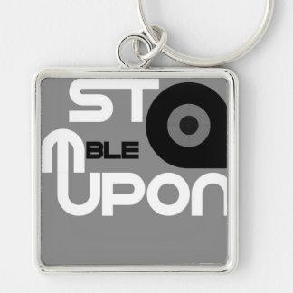 StumbleUpon Silver-Colored Square Key Ring