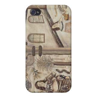 Stumpwork depicting Charles I and Charles II Case For iPhone 4