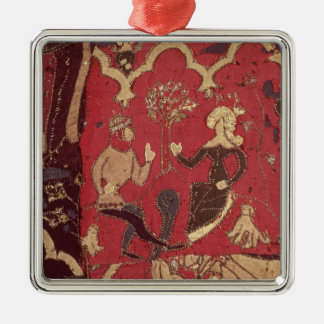 Stumpwork depicting Tristan and Isolde Silver-Colored Square Decoration