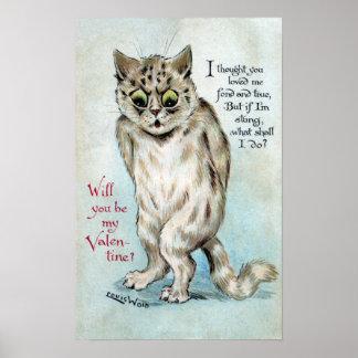 Stung Cat Vintage Valentine Poster
