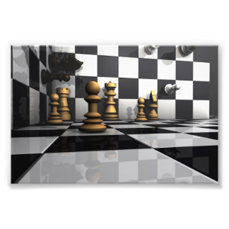 Stunning 3d chess game board with chess pieces photo print