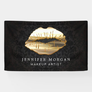 Stunning 3D Gold Lips Damask Beauty Salon Banner