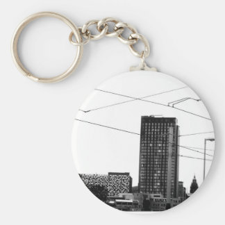Stunning Abstract Cityscape In Monochrome Basic Round Button Key Ring