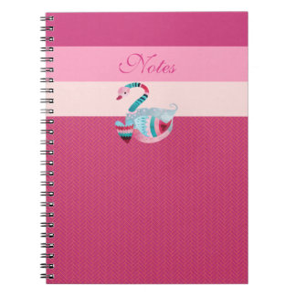 Stunning Abstract Pink Swan Valentine Heart Notebook