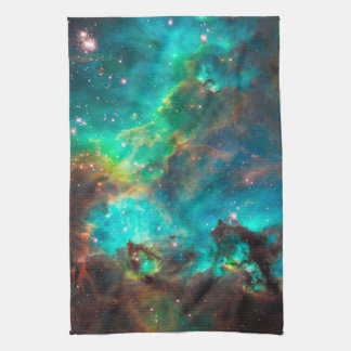 Stunning Aqua Star Cluster Hand Towels