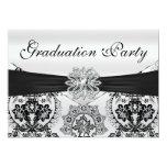 Stunning Black and Silver Damask Graduation Party 13 Cm X 18 Cm Invitation Card