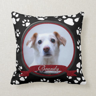 Stunning Black and White Dog Memorial Paw Prints Cushion