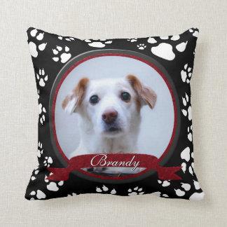 Stunning Black and White Dog Memorial Paw Prints Throw Pillow