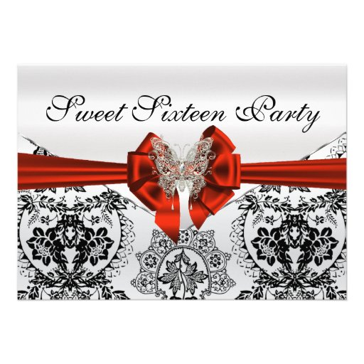 Stunning Black Damask and Butterfly Sweet Sixteen Custom Invitations