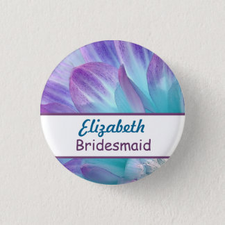 Stunning Blue and Purple Wedding Dahlia A08 3 Cm Round Badge