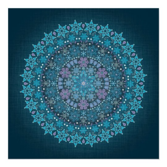 Stunning Blue Boho Snowflake Poster