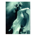 Stunning Blue Vintage Posing Beauty Postcard