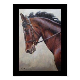 Stunning brown and black horse profile poster