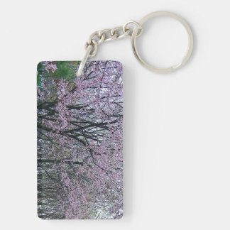 🌸↷Stunning Cherry Blossom Tree Fab Keychain↶🌸 Double-Sided Rectangular Acrylic Key Ring