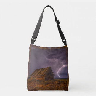 Stunning country barn with lightning bolt tote bag
