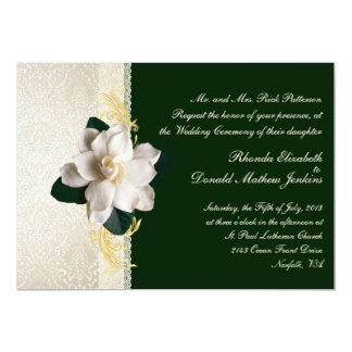 Stunning Dark Green & Ivory Gardenia Wedding 13 Cm X 18 Cm Invitation Card