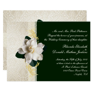 Stunning Dark Green & Ivory Gardenia Wedding Card