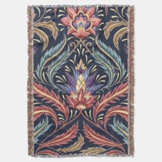 Stunning Floral Damask Throw Blanket