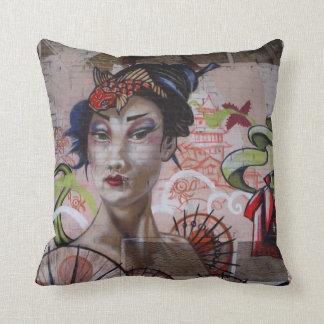 Stunning Geisha Graffiti urban street art Cushion