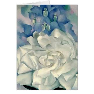 Stunning Georgia O'Keefe White Rose and Larkspur Card