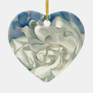 Stunning Georgia O'Keefe White Rose and Larkspur Christmas Ornament