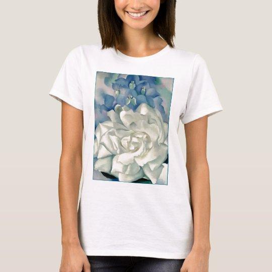 Stunning Georgia O'Keefe White Rose and Larkspur T-Shirt