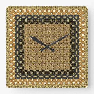 Stunning Gold And Black Tiled Motifs Square Wall Clock