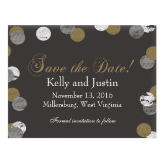 Stunning Gold and Gray Save The Date Postcard