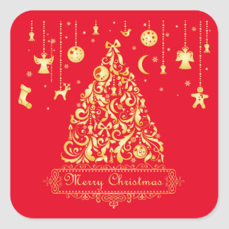Stunning Gold Tree Red Ornaments Merry Christmas Square Sticker