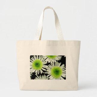 Stunning lime green dahlia print tote bags