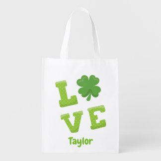 Stunning Love Block Lettering St Patricks Day Reusable Grocery Bag