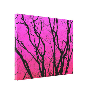 Stunning Magenta Tree Silhouettes Sunset Canvas Print