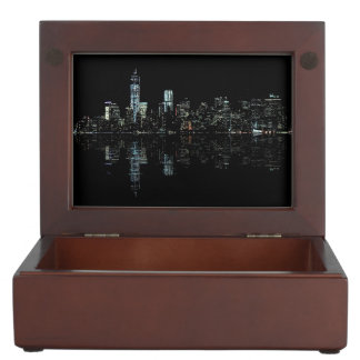 Stunning Night Photo of New York Skyline Keepsake Box