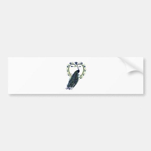 Stunning Peacock and ornate heart flower frame Bumper Sticker